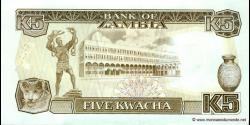 Zambie - p30 - 5 Kwacha - ND (1989) - Bank of Zambia
