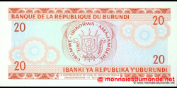 Burundi - p27c - 20 Francs - 01.10.1991 - Banque de la République du Burundi / Ibanki ya Republika y'Uburundi