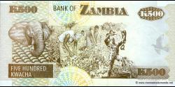 Zambie - p39a - 500 Kwacha - 1992 - Bank of Zambia