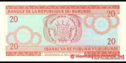 Burundi - p27d2 - 20 Francs - 01.11.2007 - Banque de la République du Burundi / Ibanki ya Republika y'Uburundi