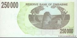 Zimbabwe - p50 - 250.000 Dollars - 20.12.2007 - Reserve Bank of Zimbabwe