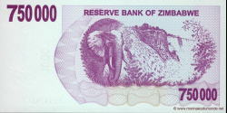 Zimbabwe - p52 - 750.000 Dollars - 31.12.2007 - Reserve Bank of Zimbabwe