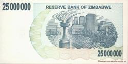 Zimbabwe - p56 - 25.000.000 Dollars - 02.04.2008 - Reserve Bank of Zimbabwe