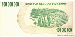 Zimbabwe - p58 - 100.000.000 Dollars - 02.05.2008 - Reserve Bank of Zimbabwe