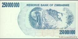 Zimbabwe - p59 - 250.000.000 Dollars - 02.05.2008 - Reserve Bank of Zimbabwe