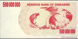 Zimbabwe - p60 - 500.000.000 Dollars - 02.05.2008 - Reserve Bank of Zimbabwe