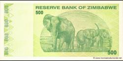 Zimbabwe - p98 - 500 Dollars - 2009 - Reserve Bank of Zimbabwe