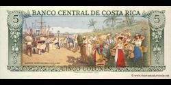 Costa - Rica - p236d2 - 5 Colones - 02.10.1989 - Banco Central de Costa Rica