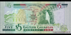 Etats Caraïbes Orientales - p47 - 5 Dollars - ND (2008) - Eastern Caribbean Central Bank