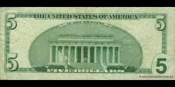 Etats Unis d'Amérique - p505 - 5 Dollars - 1999 - Federal Reserve System