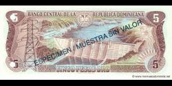 République Dominicaine - p152S - 5 Pesos Oro - 1996 - Banco Central de la República Dominicana