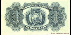Bolivie - p128a - 1 Boliviano - L. 20.07.1928 - Banco Central de Bolivia