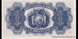 Bolivie - p128c - 1 Boliviano - L. 20.07.1928 - Banco Central de Bolivia