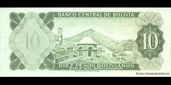 Bolivie - p154a - 10 Pesos Bolivianos - L. 13.07.1962 - Banco Central de Bolivia