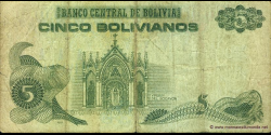 Bolivie - p217 - 5 Bolivianos - L. 28.11.1986 - Banco Central de Bolivia