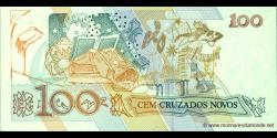 Brésil - p220a - 100 Cruzados Novos - ND (1989) - Banco Central do Brasil