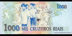 Brésil - p240 - 1.000 Cruzeiros Reais - ND (1993) - Banco Central do Brasil
