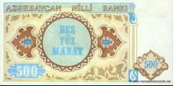 Azerbaïdjan - p19b - 500 Manat - ND (1993) - Azərbaycan Milli Bankı