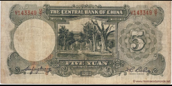 Chine - p213a - 5 Yuan - 1936 - Central Bank of China