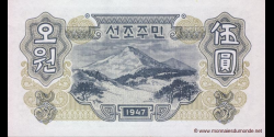 Corée du Nord - p10b - 5 Won - 1947 - North Korea Central Bank
