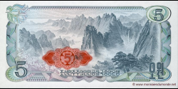 Corée du Nord - p19d - 5 Won - 1978 - Central Bank of the Democratic Peoples Republic of Korea