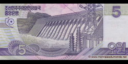 Corée du Nord - p67 - 5 Won - 2002 ( OP 2012) - Central Bank of the Democratic Peoples Republic of Korea