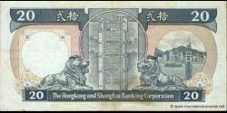 Hong Kong - p192a - 20 Dollars - 01.01.1987 - Hong Kong and Shanghai Banking Corporation
