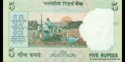 Inde - p088Aa - 5 Roupies - ND (2002 - 2008) - Reserve Bank of India