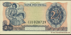 Indonésie - p103 - 2 ½ Roupies - 1968 - Bank Indonesia