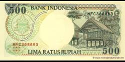 Indonésie - p128c - 500 Roupies - 1992 / 1996 - Bank Indonesia