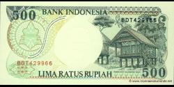 Indonésie - p128g - 500 Roupies - 1992 / 1998 - Bank Indonesia