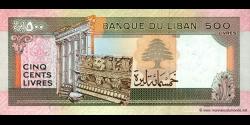 Liban - p68 - 500Livres - 1988 - Banque du Liban