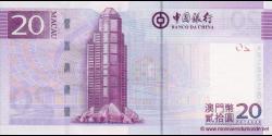 Macao - p109 - 20 Patacas - 08.08.2008 - Banco da China