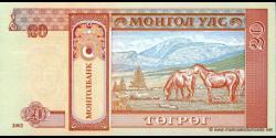 Mongolie - p63b - 20Tögrög - 2002 - Mongolbank