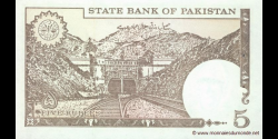 Pakistan - p38f - 5 Roupies - ND (1984 - 1999) - State Bank of Pakistan