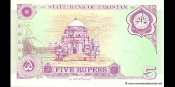 Pakistan - p44 - 5 Roupies - 1997 - State Bank of Pakistan