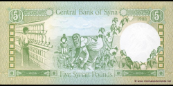 Syrie - p100d - 5 Syrian Pounds - 1988 - Central Bank of Syria