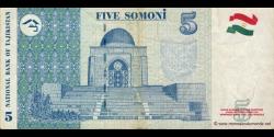 Tadjikistan - p15a - 5Somoni - 1999 - Bonki Millii Tochikiston / National Bank of Tajikistan