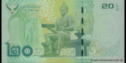 Thaïlande - p123 - 20Baht - BE 2556 (2013) - Bank of Thailand