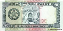 Turkménistan - p04b - 20Manat - 1995 - Türkmenistanyň Merkezi Döwlet Banky