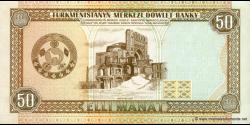 Turkménistan - p05a - 50Manat - ND (1993) - Türkmenistanyň Merkezi Döwlet Banky