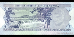 Turquie - p185 - 5 Türk Lirası - L. 1970 (1971 - 1982) - Türkiye Cumhuriyet Merkez Bankası