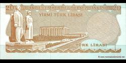 Turquie - p187b - 20Türk Lirası - L. 1970 (1971 - 1982) - Türkiye Cumhuriyet Merkez Bankası