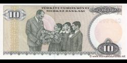Turquie - p192b - 10Türk Lirası - L. 1970 (1984 - 2002) - Türkiye Cumhuriyet Merkez Bankası