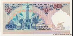 Turquie - p195c - 500Türk Lirası - L. 1970 (1984 - 2002) - Türkiye Cumhuriyet Merkez Bankası