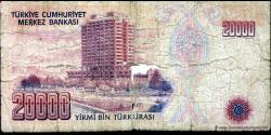 Turquie - p201 - 20.000Türk Lirası - L. 1970 (1984 - 2002) - Türkiye Cumhuriyet Merkez Bankası