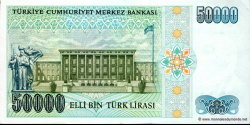 Turquie - p203 - 50.000Türk Lirası - L. 1970 (1984 - 2002) - Türkiye Cumhuriyet Merkez Bankası