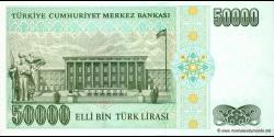 Turquie - p204 - 50.000Türk Lirası - L. 1970 (1984 - 2002) - Türkiye Cumhuriyet Merkez Bankası