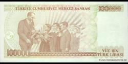Turquie - p206a - 100.000Türk Lirası - L. 1970 (1984 - 2002) - Türkiye Cumhuriyet Merkez Bankası