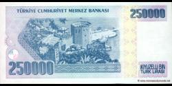 Turquie - p211 - 250.000Türk Lirası - L. 1970 (1984 - 2002) - Türkiye Cumhuriyet Merkez Bankası